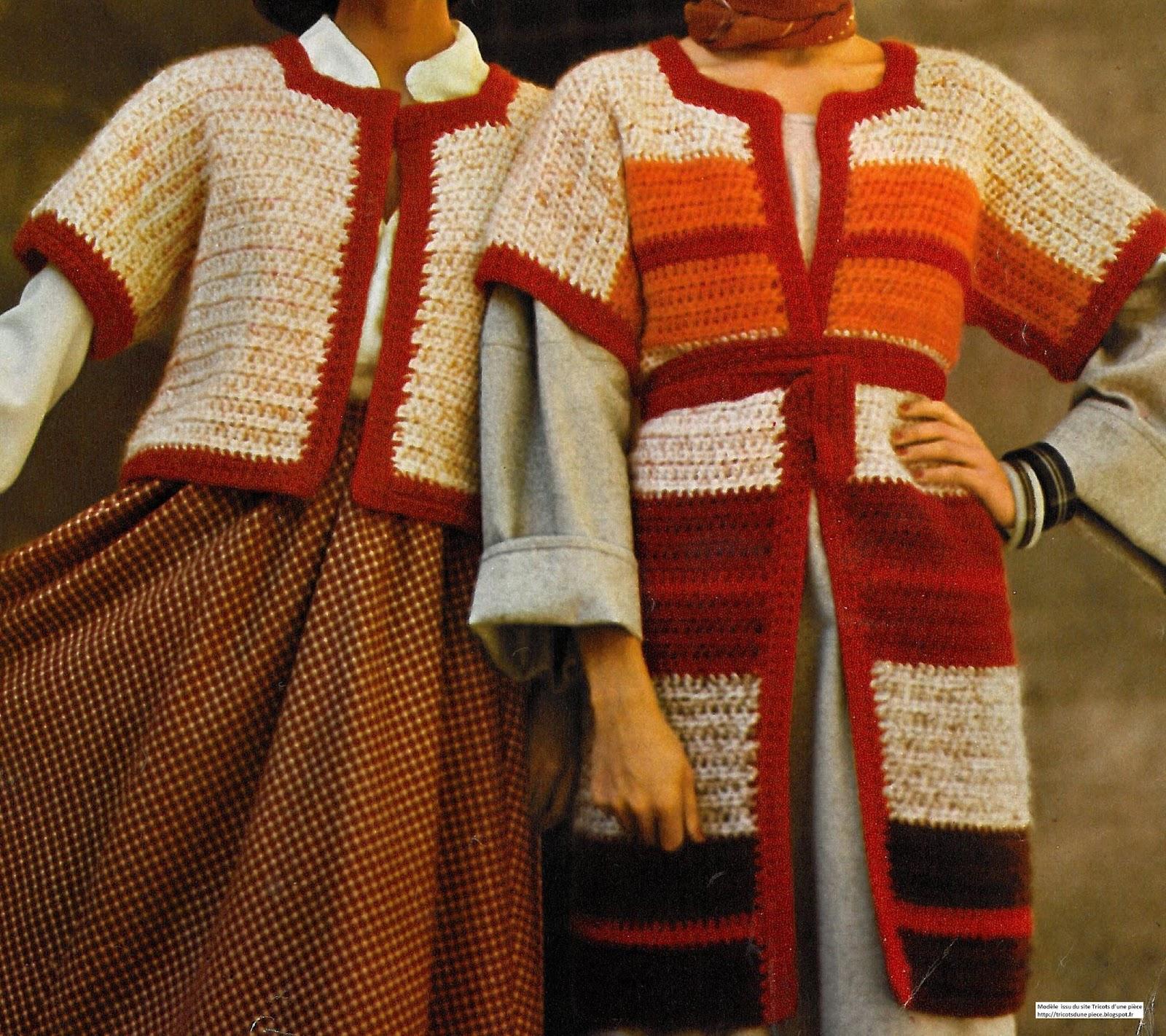 ce bon vieux pull tube un gilet femme forme kimono au crochet. Black Bedroom Furniture Sets. Home Design Ideas