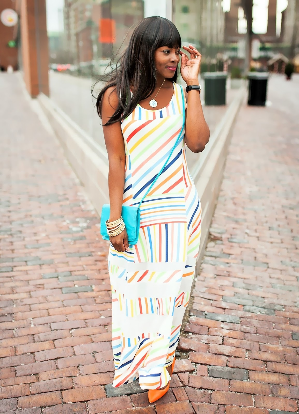 PETER SOM STRIPED MAXI DRESS FOR DESIGNATION