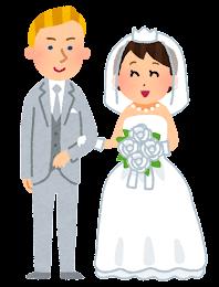 国際結婚をしたカップルのイラスト(白人・黄色人)