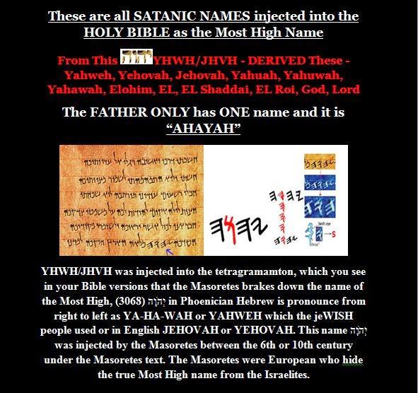 Ahayah Yashiya - The Truth Be Told! : YHWH/JHVH AND AHAYAH