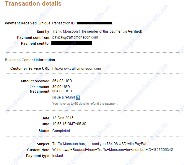 Traffic Monsoon payment proof