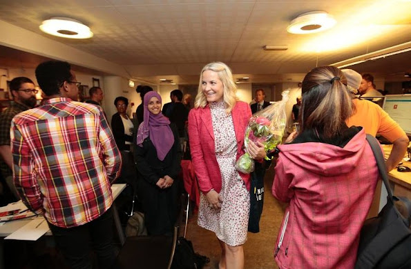Crown Princess Mette-Marit attends opening ceremony of Literature train 2016 held at the House of Literature in Bergen, wedding dress, valentino dress