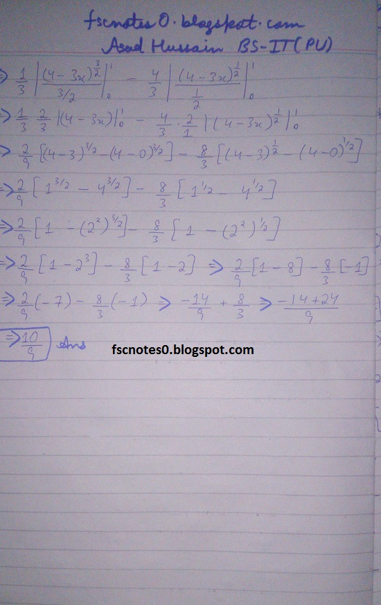 FSc ICS Notes Math Part 2 Chapter 3 Integration Exercise 3.6 question 24 - 28 by Asad Hussain 3