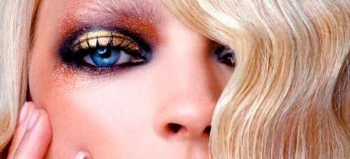 maquillar ojos azules en dorado