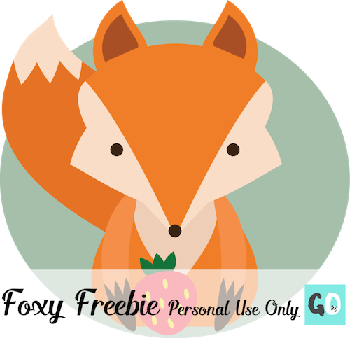Cute clipart fox holding a strawberry. This image is free for personal use only. By GradeONEderful.com