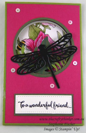 www.thecraftythinker.com.au, Inside the Lines, fun fold, Detailed Dragonfly, #thecraftythinker, Stampin Up Australia Demonstrator, Stephanie Fischer, Sydney NSW, Tutorial Stiched Shapes rectangles