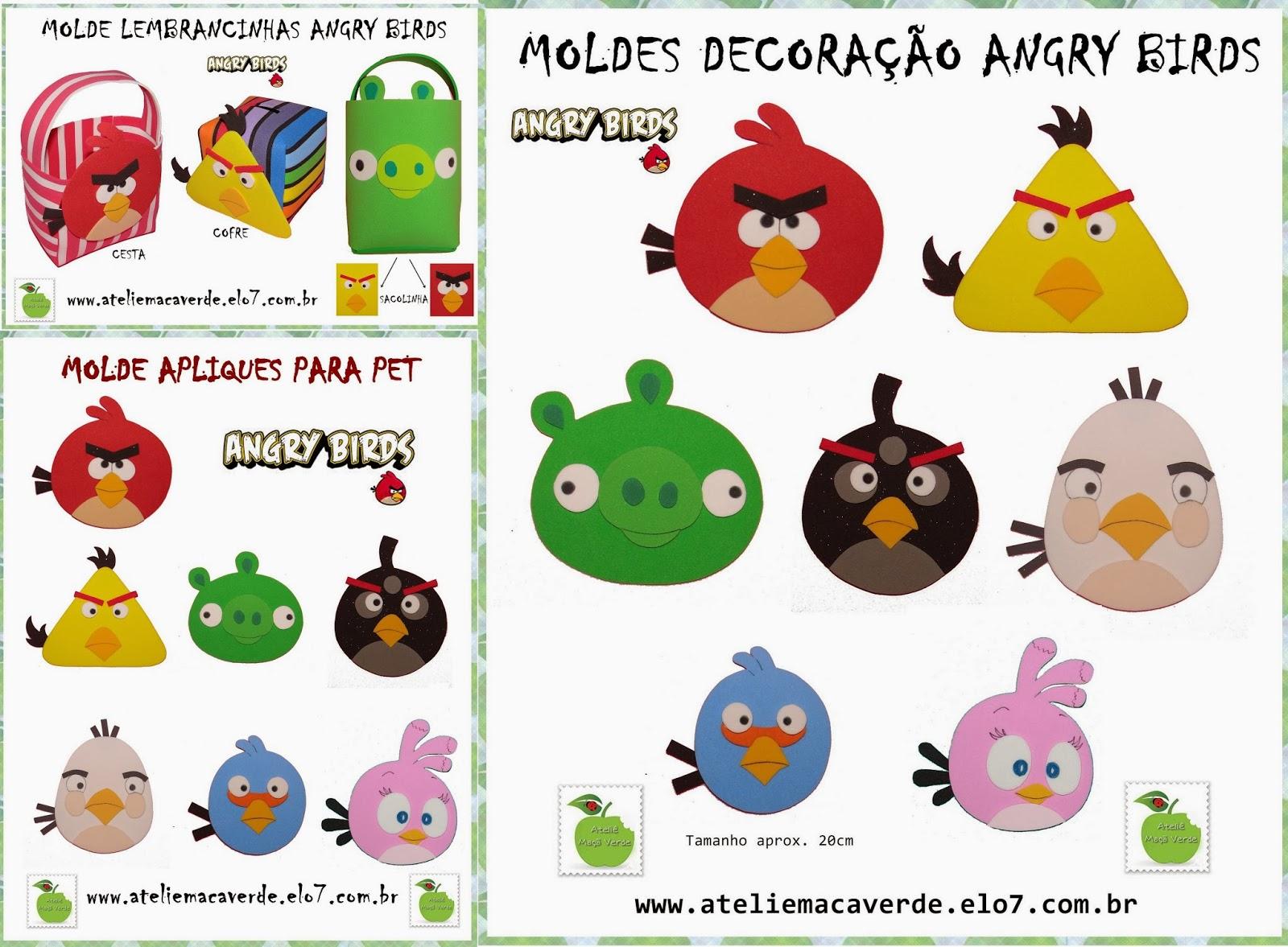 Colorido Angry Birds Personagens Vector: ATELIÊ MAÇÃ VERDE: COMBO DE MOLDES ATELIÊ MAÇÃ VERDE