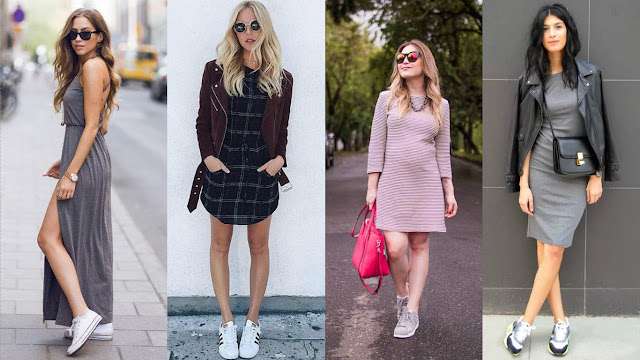 tendência vestido e tênis