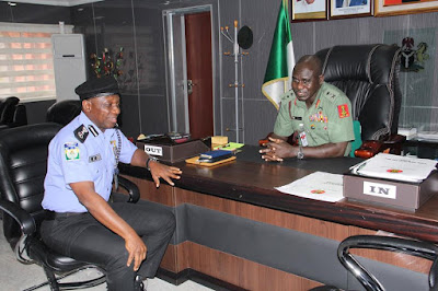 Police IG Ibrahim Idris Visits Chief Of Army Staff T.Y Buratai At His Office In Abuja. Photos