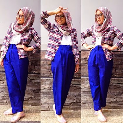 style kemeja flanel wanita hijab keren