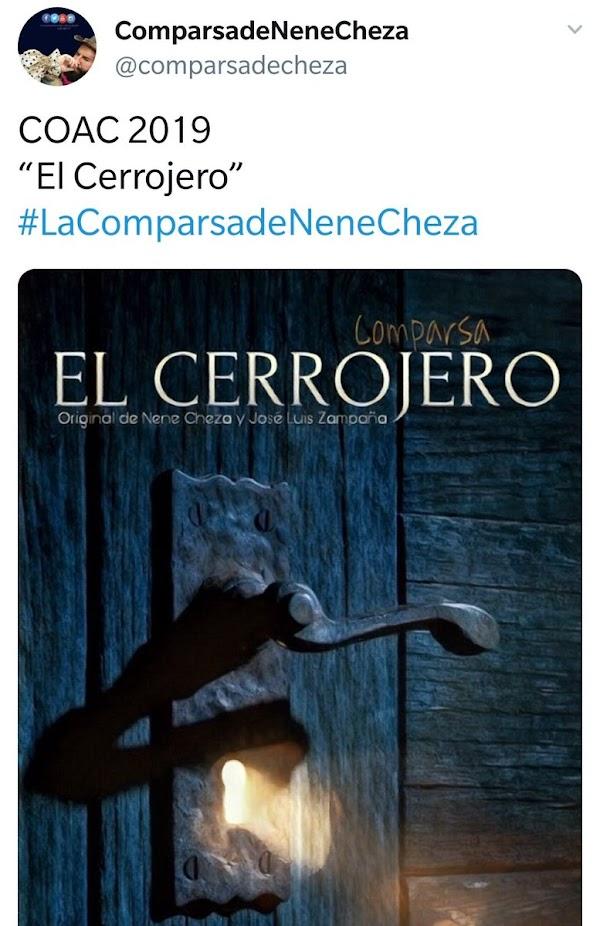 """La comparsa de Nene Cheza y José Luis Zampaña se presentará al COAC 2019 bajo el nombre de """"El Cerrojero""""."""