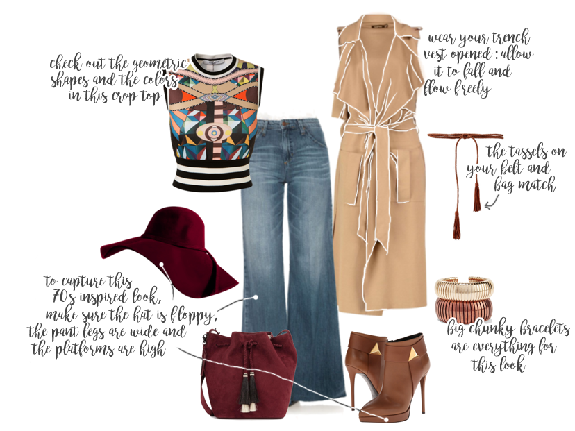 70s Inspired look with big brim hats and wide leg jeans