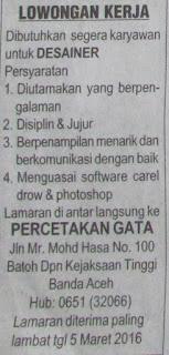 Lowongan Kerja Di Banda Aceh Tanpa Ijazah Info Seputar Kerjaan