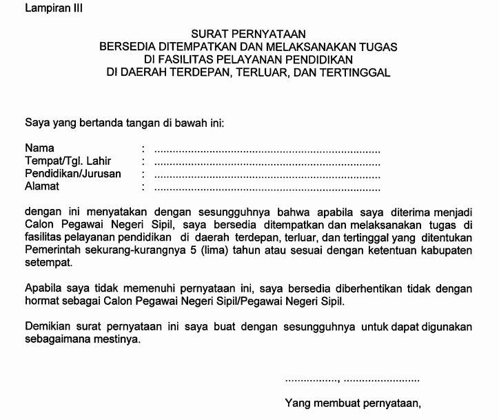 Inilah Format Resmi Surat Pernyataan Bersedia Ditempatkan Di 3t