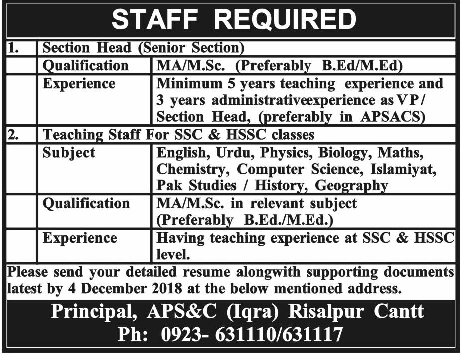 Jobs Vacancies In Army Public School And College 01 December 2018