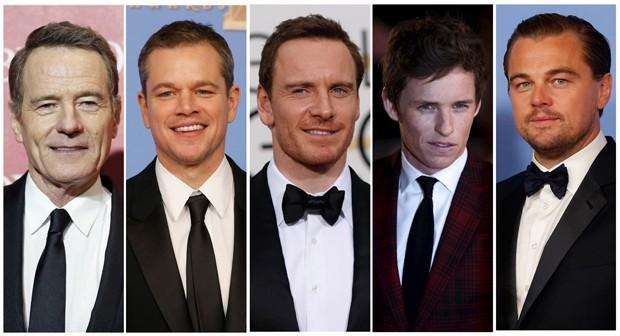 Indicados ao Oscar de ator: Bryan Cranston ('Trumbo'), Matt Damon ('Perdido em Marte'), Michael Fassbender ('Jobs'), Eddie Redmayne ('A Garota Dinamarquesa'), e Leonardo DiCaprio ('O Regresso') (Foto: Reuters)