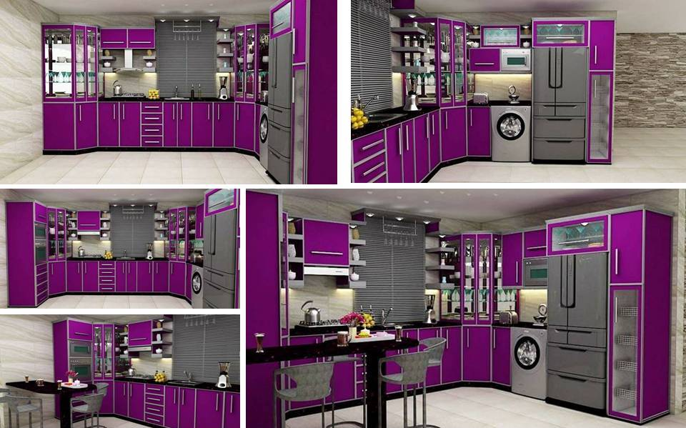 3D Max Purple Kitchen Cabinet Design