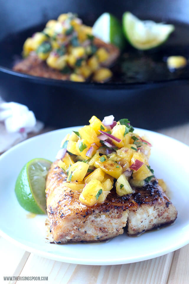 Pan-Seared Mahi-Mahi with Pineapple Salsa | The Rising Spoon