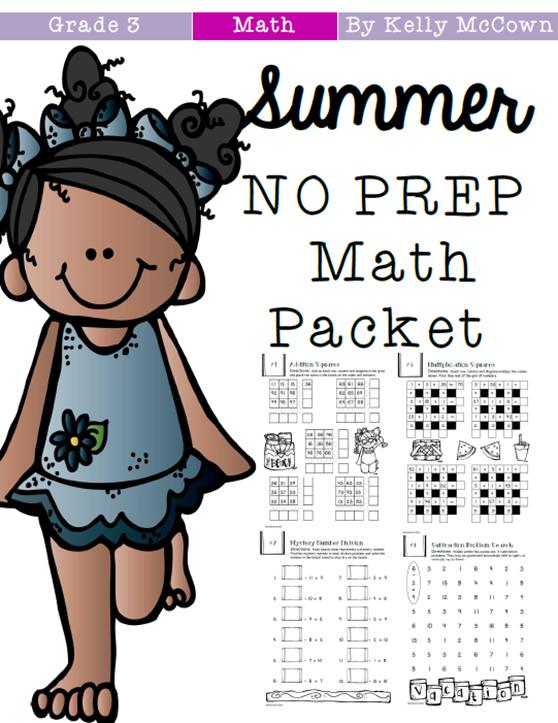 kelly mccown  summer no prep math packet grades 3 to 4