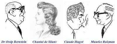 Caricaturas de Dr. Ossip Bernstein, Claude Hugot y Maurice Raizman, y dibujo de Chantal de Silans