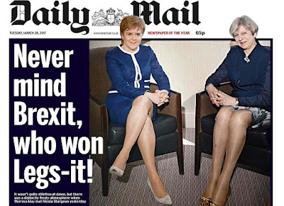 A Daily Mail front page that declared  Never mind Brexit, who won Legs-it!  next to a photograph of Scottish first minister Nicola Sturgeon and British prime minister Theresa May...