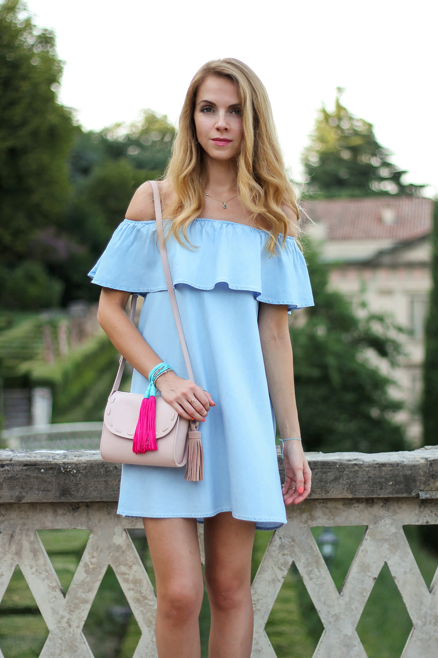 OFF-THE-SHOULDER DENIM DRESS - KARAMODE
