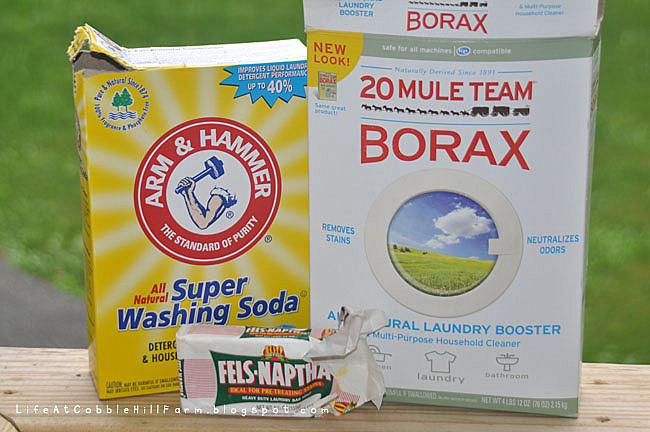 Three ingredients {plus water} are all that's needed to make detergent. These ingredients cost me a total of $5.56 at the grocery store.