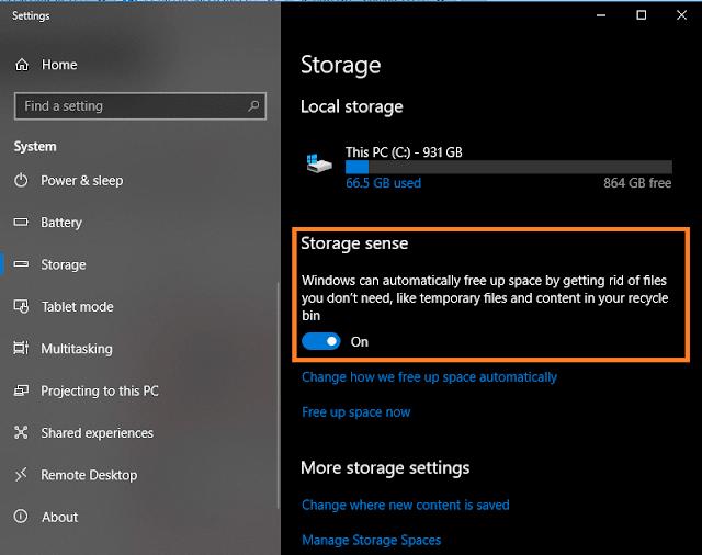 Turn On Storage Sense Windows 10