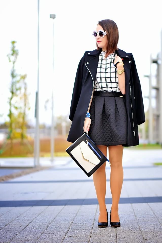 czarna pikowana spódnica