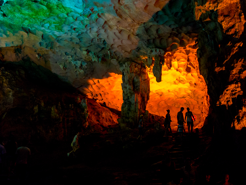 image of the inside of the sung sot cave in vietnam while cruising on ha long bay