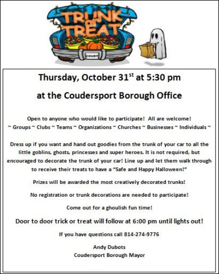10-31 Trunk or Treat Coudersport