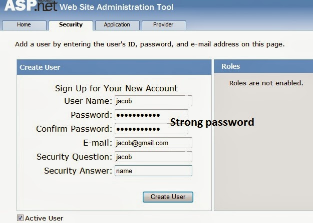 Fill all required field with strong password because Microsoft recommend strong password.