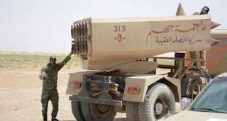 القوة الصاروخية للواء 28 في الحشد الشعبي  تعالج اهدافا لعناصر داعش الوهابي على الحدود العراقية السورية