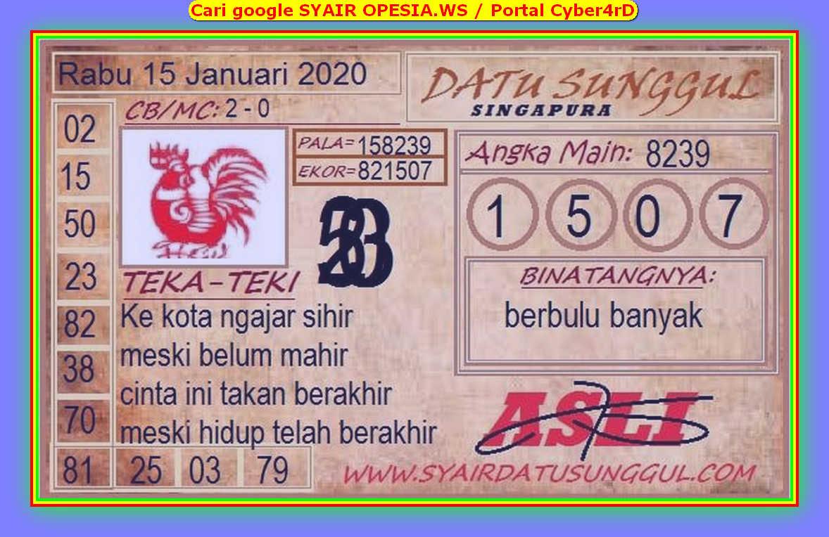 Kode syair Singapore Rabu 15 Januari 2020 148