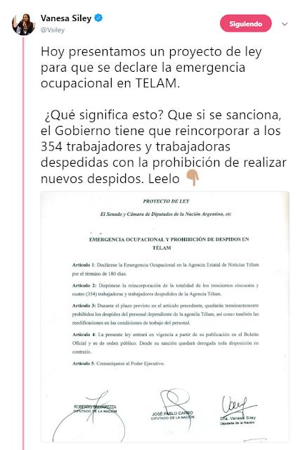 La diputada nacional Vanesa Siley presentó un proyecto de ley para prohibir los despidos en Télam
