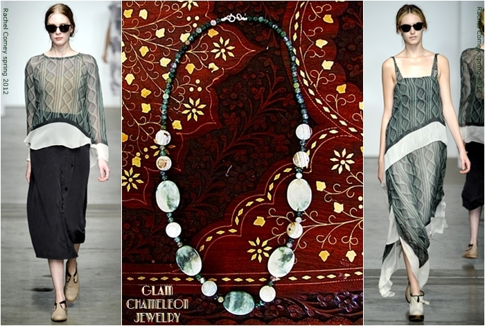 Glam Chameleon Jewelry moss agate and white agate necklace