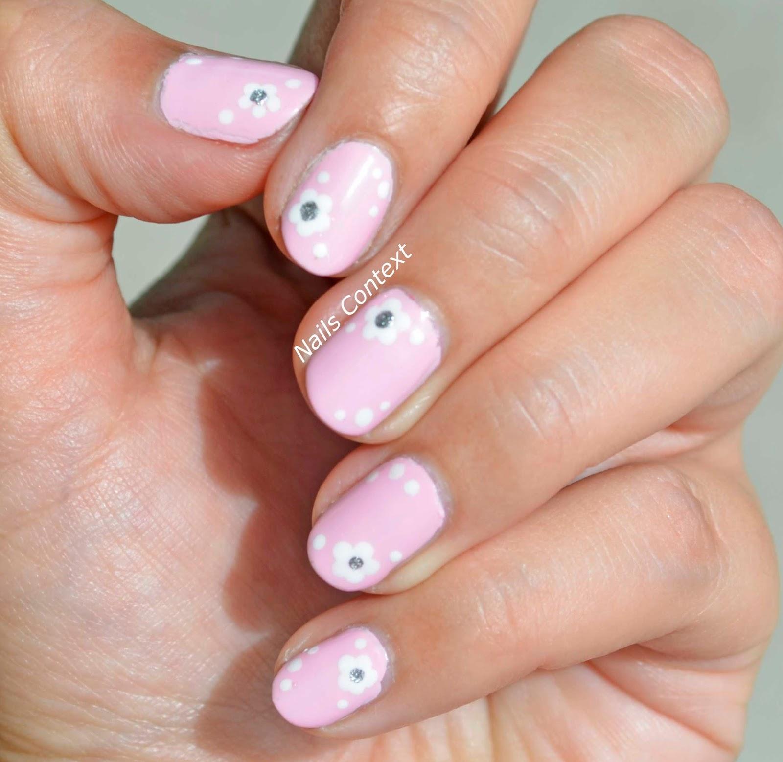Nails Context: Pink Floral Nails
