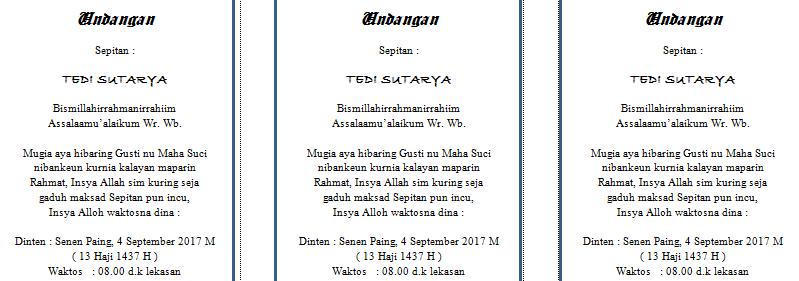 Contoh Surat Undangan Sunatan Bahasa Sunda Tukang Ngetik