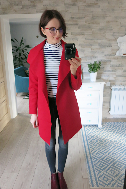 Płaszcz | Wine red coat