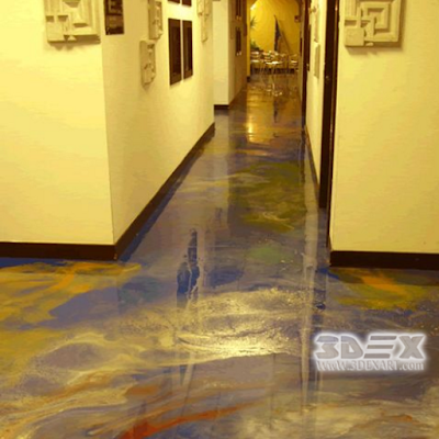 metallic epoxy floor coating for hotel hallway
