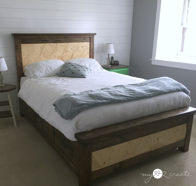 Geometric design Farmhouse Storage Bed with removable slats for extra storage, MyLove2Create