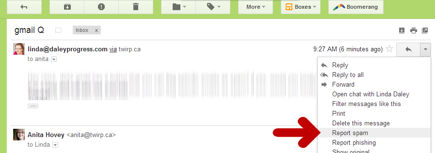 GMail screen shot - report spam