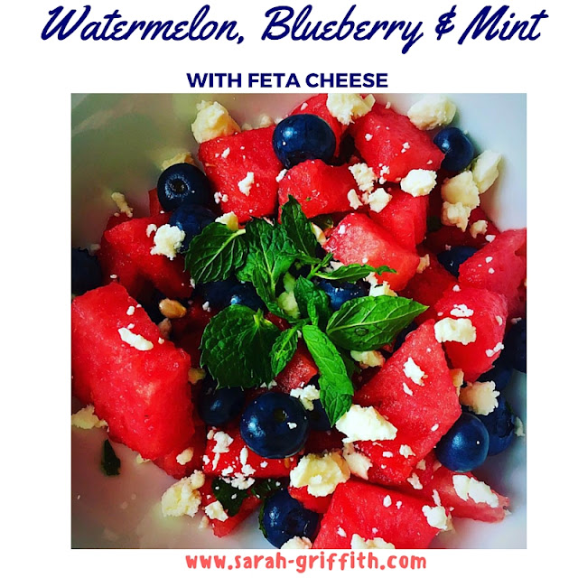 watermelon, watermelon and feta, summer salads, summer side dishes, sarah griffith, top beachbody coach,