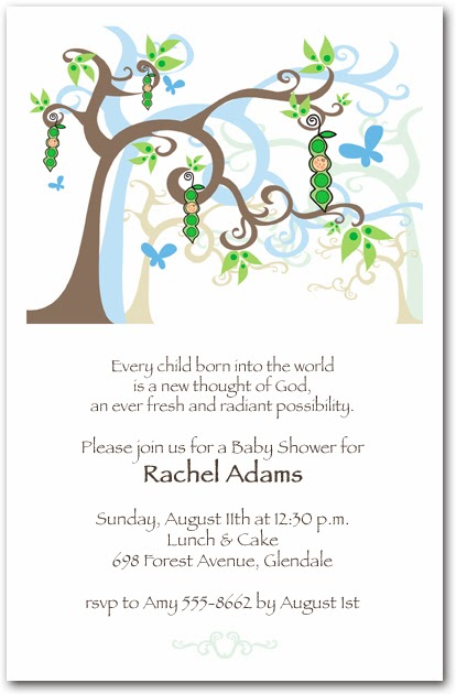 Boy Peapod Tree Shower Invitations | Shop Announcingit.com