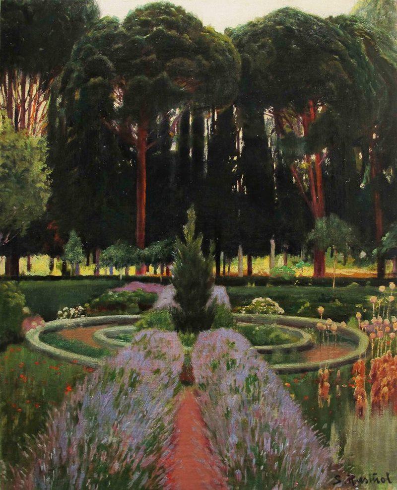 """Santiago Rusiñol. Mur d'arbres. 1898. Exposición """"Jardines de España"""" Museu Modernisme Barcelona"""