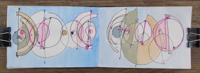 verna vogel drawing and painting on paper in sketchbook abstract augury