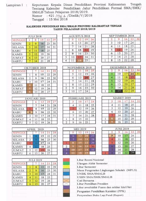 Kalender Pendidikan Tahun Ajaran 2018/2019 Provinsi Kalimantan Tengah