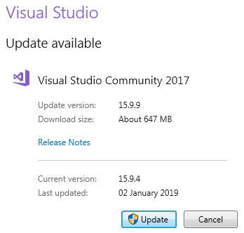 how to update visual studio version