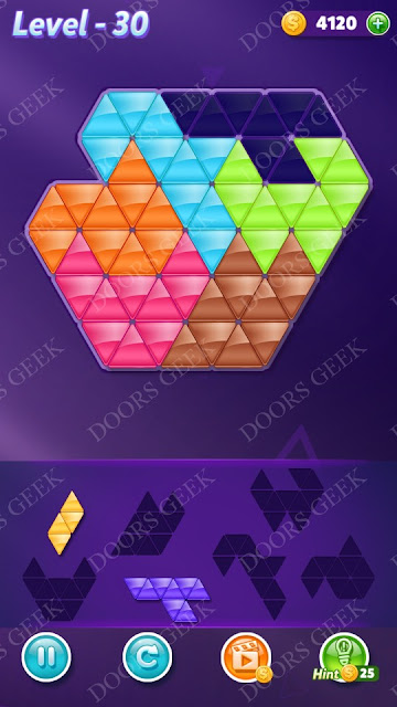 Block! Triangle Puzzle Intermediate Level 30 Solution, Cheats, Walkthrough for Android, iPhone, iPad and iPod