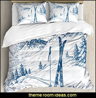 Winter Decorations Duvet Cover Set  winter cabin decorating ski resort bedroom ideas - winter wall murals - ski chalet theme bedroom decorating ideas - modern rustic style winter cabin decor - Swiss alps decoration Alpine theme decorating - adventure bedroom design ideas